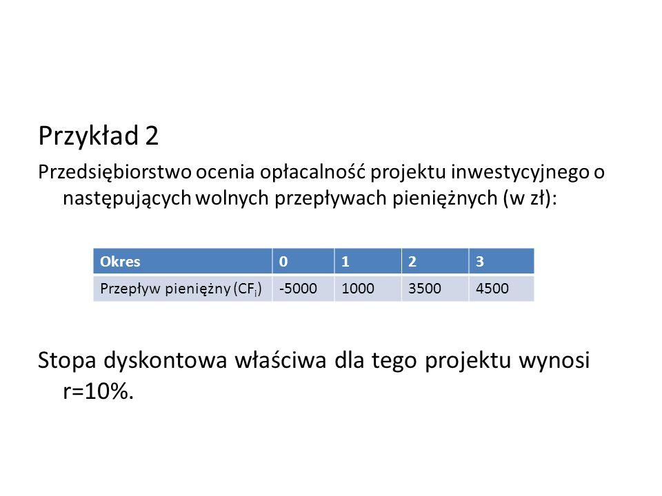 Przykład 2 Stopa dyskontowa właściwa dla tego projektu wynosi r=10%.