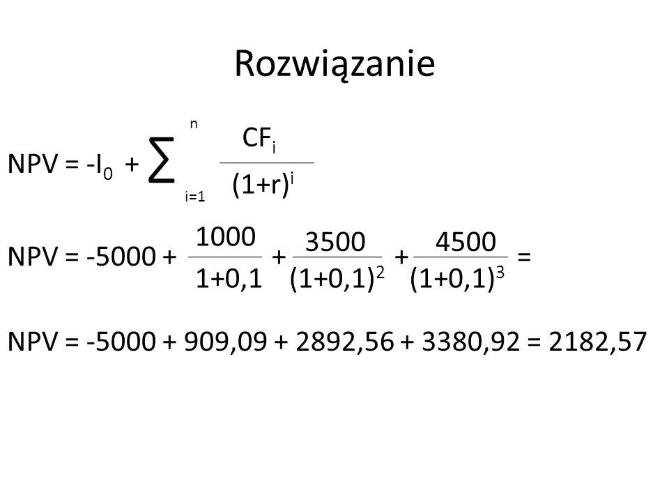 Rozwiązanie n. NPV = -I0 + ∑ NPV = -5000 + + + = NPV = -5000 + 909,09 + 2892,56 + 3380,92 = 2182,57