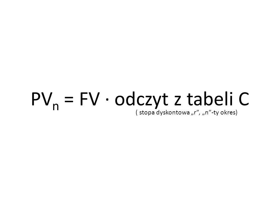 PVn = FV ∙ odczyt z tabeli C