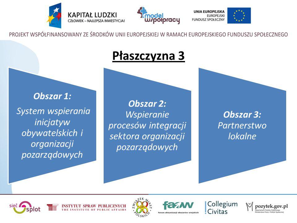 Płaszczyzna 3 System wspierania inicjatyw obywatelskich i organizacji pozarządowych. Obszar 1: