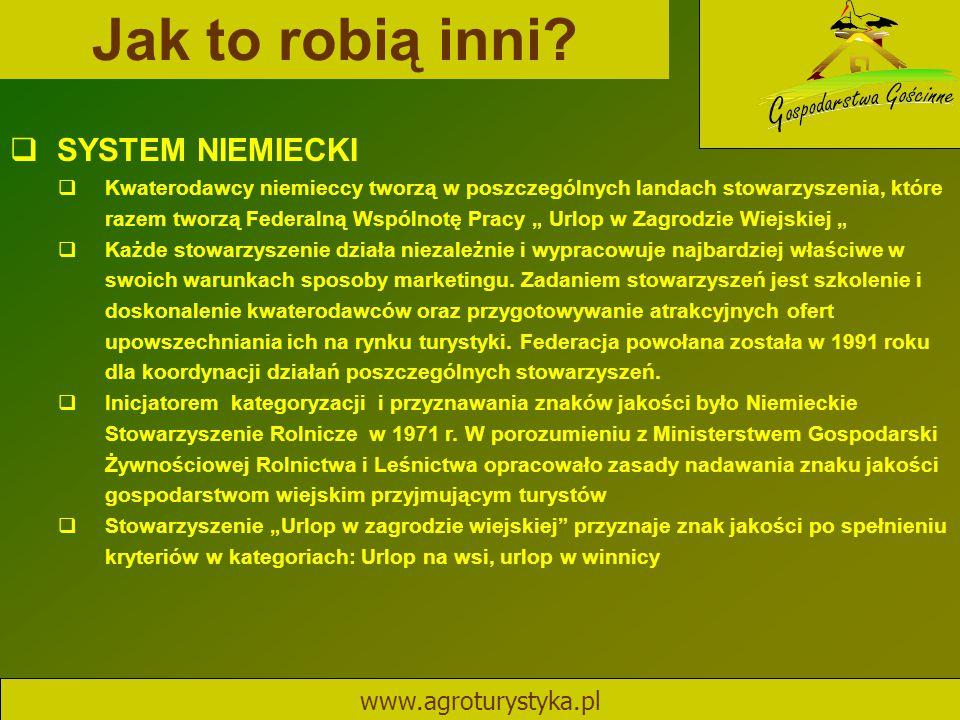 Jak to robią inni SYSTEM NIEMIECKI www.agroturystyka.pl