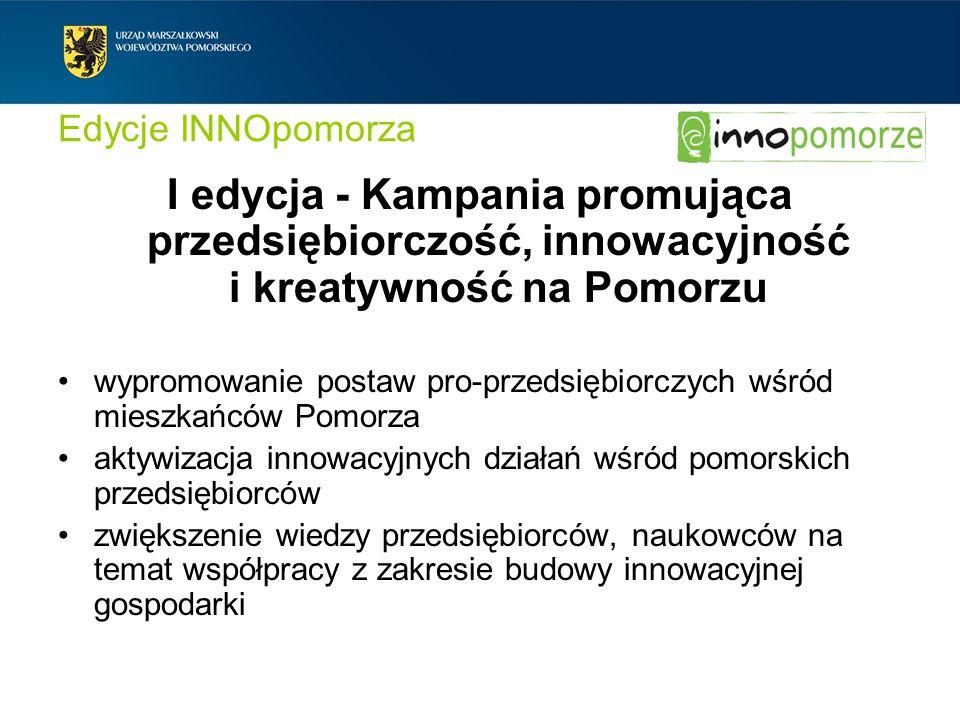 Edycje INNOpomorza I edycja - Kampania promująca przedsiębiorczość, innowacyjność i kreatywność na Pomorzu.