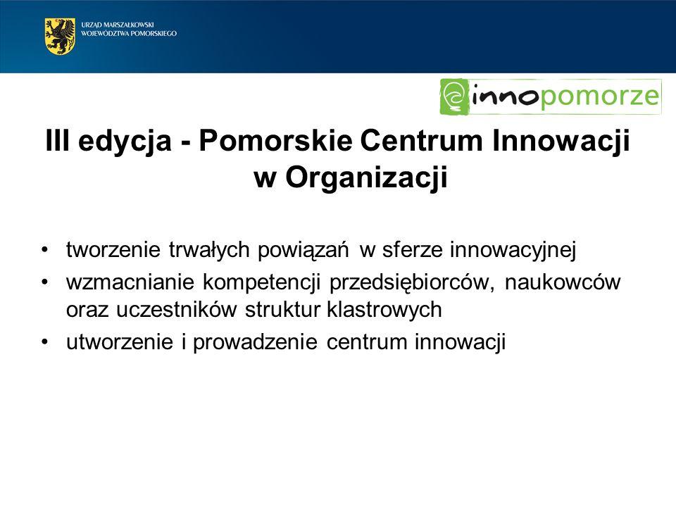 III edycja - Pomorskie Centrum Innowacji w Organizacji