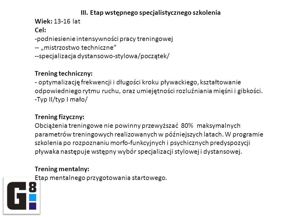 III. Etap wstępnego specjalistycznego szkolenia