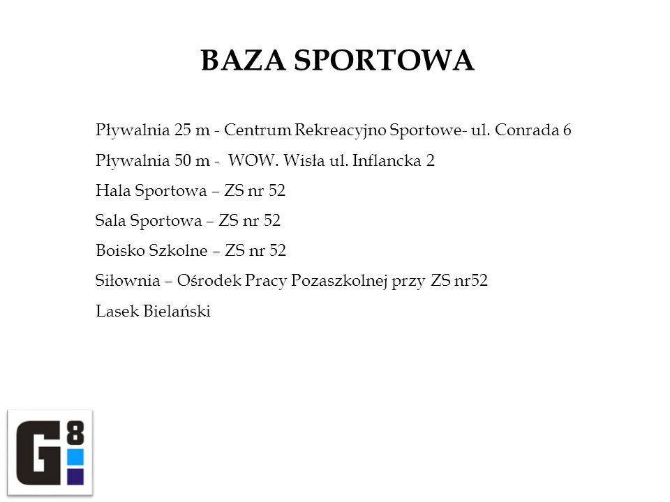 BAZA SPORTOWA Pływalnia 25 m - Centrum Rekreacyjno Sportowe- ul. Conrada 6. Pływalnia 50 m - WOW. Wisła ul. Inflancka 2.