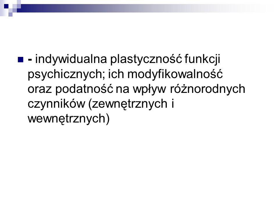 - indywidualna plastyczność funkcji psychicznych; ich modyfikowalność oraz podatność na wpływ różnorodnych czynników (zewnętrznych i wewnętrznych)