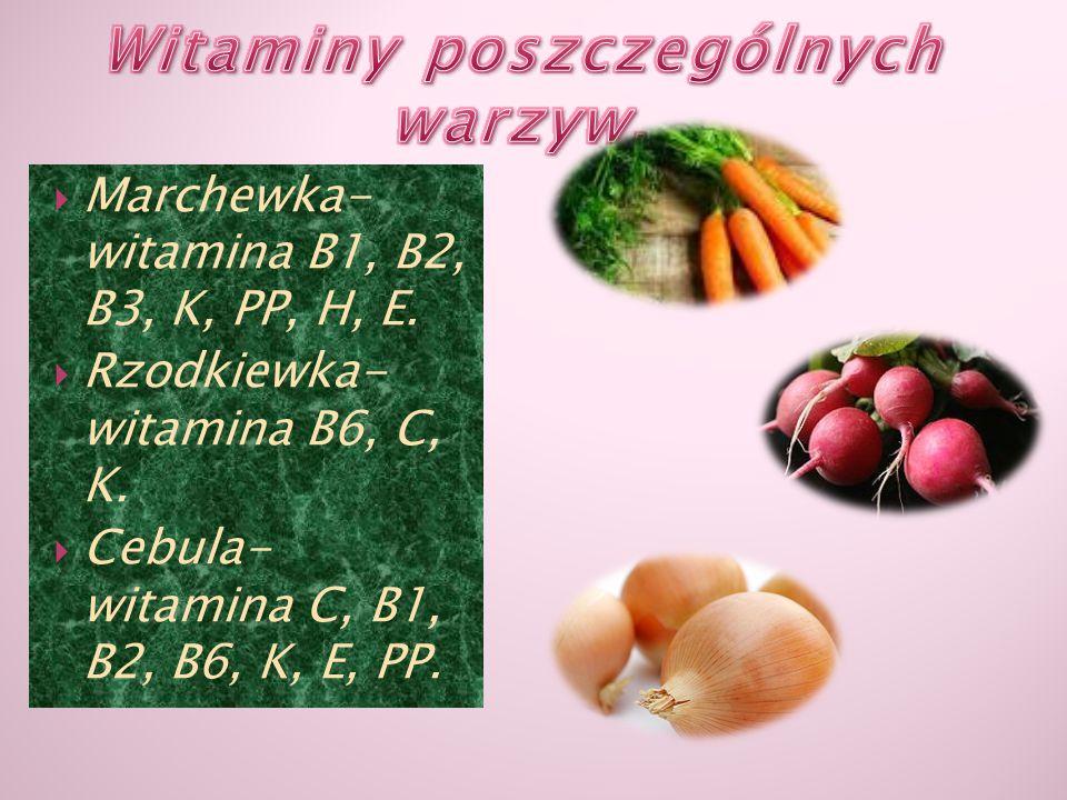 Witaminy poszczególnych warzyw.