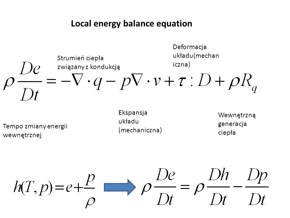 Local energy balance equation