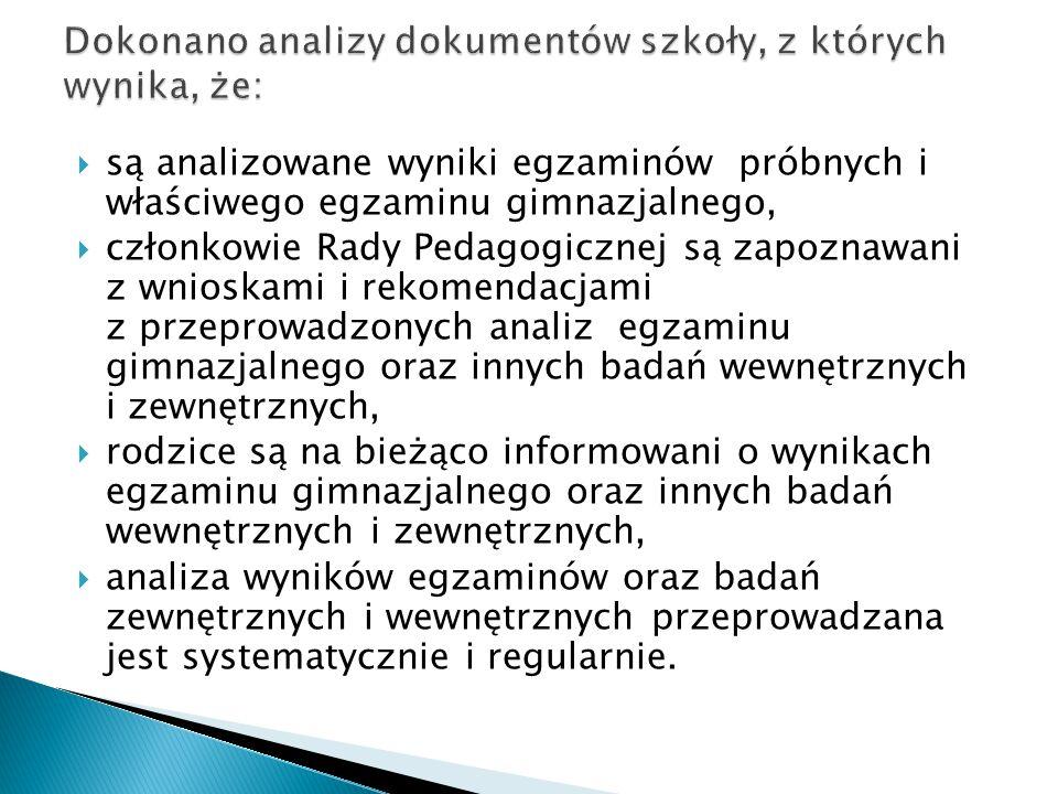 Dokonano analizy dokumentów szkoły, z których wynika, że: