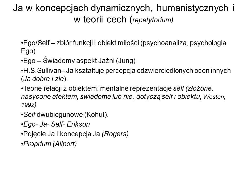 Ja w koncepcjach dynamicznych, humanistycznych i w teorii cech (repetytorium)