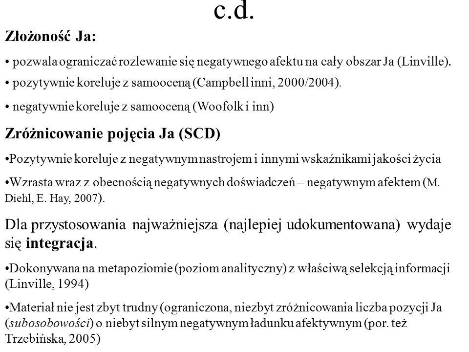 c.d. Złożoność Ja: Zróżnicowanie pojęcia Ja (SCD)