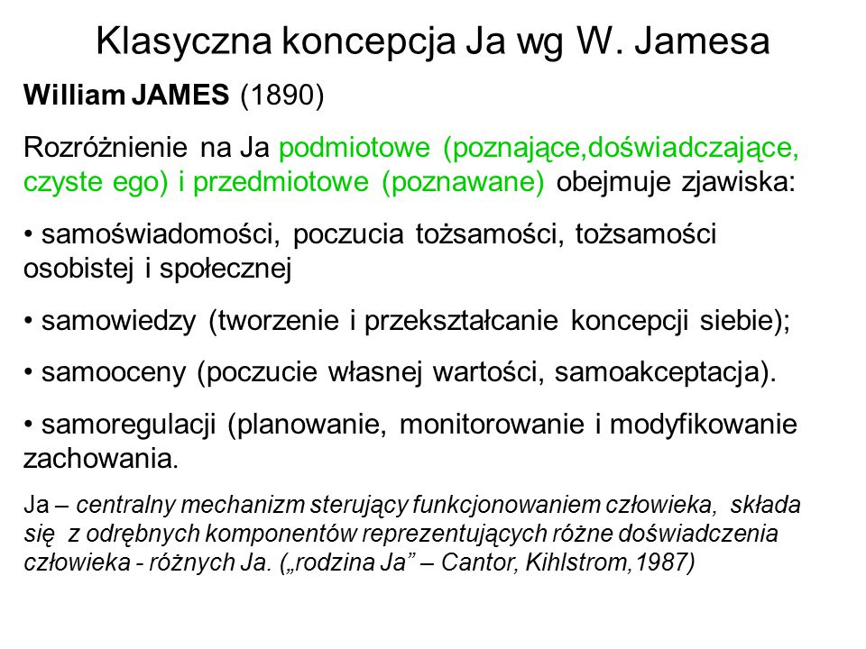 Klasyczna koncepcja Ja wg W. Jamesa