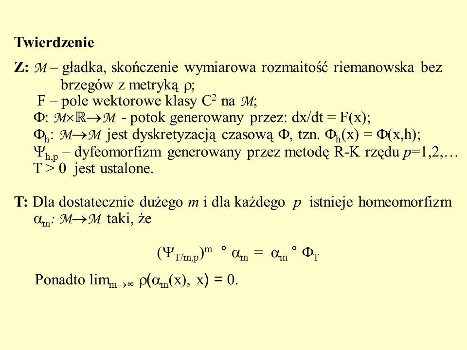 Twierdzenie Z: M – gładka, skończenie wymiarowa rozmaitość riemanowska bez. brzegów z metryką ; F – pole wektorowe klasy C2 na M;