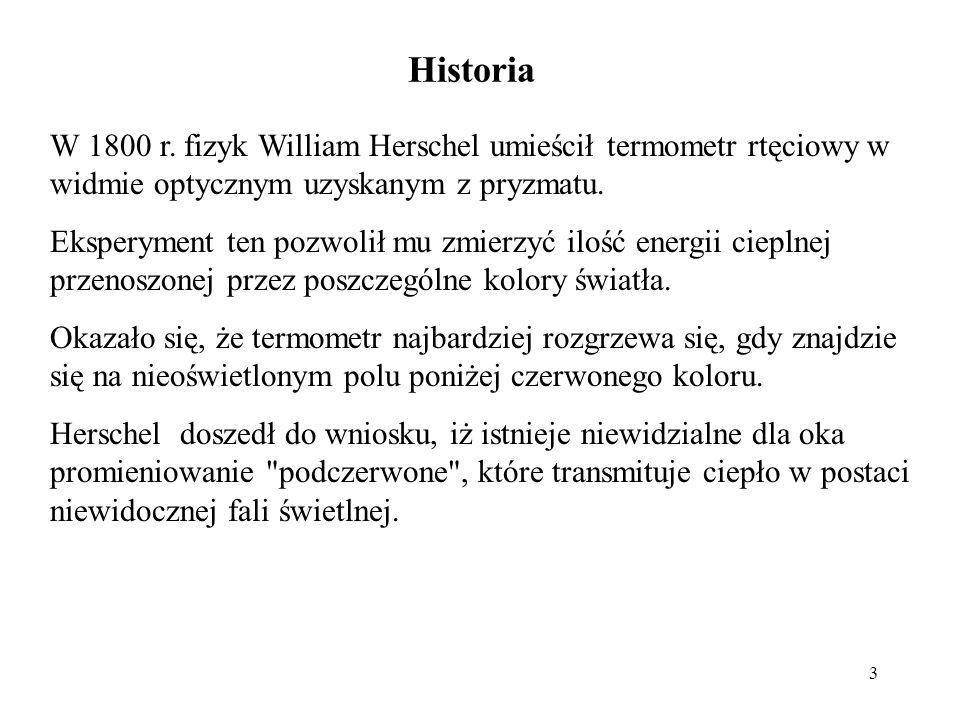 Historia W 1800 r. fizyk William Herschel umieścił termometr rtęciowy w widmie optycznym uzyskanym z pryzmatu.