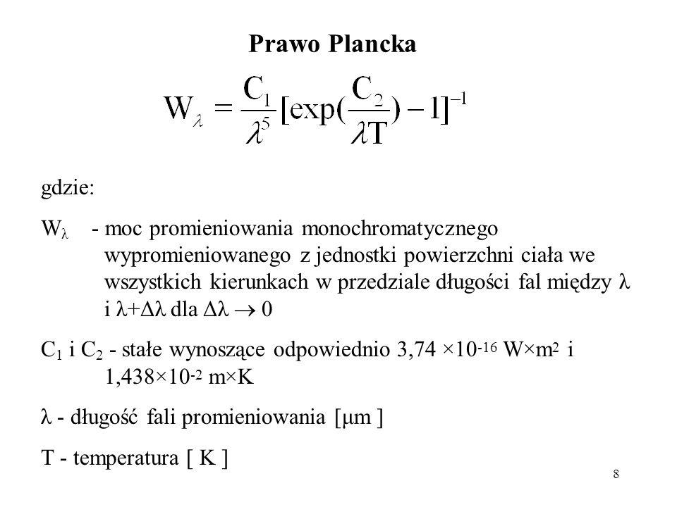 Prawo Plancka gdzie: