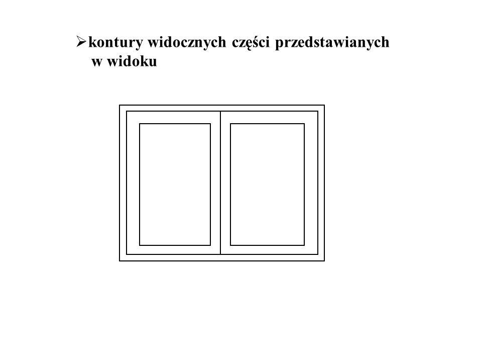 kontury widocznych części przedstawianych