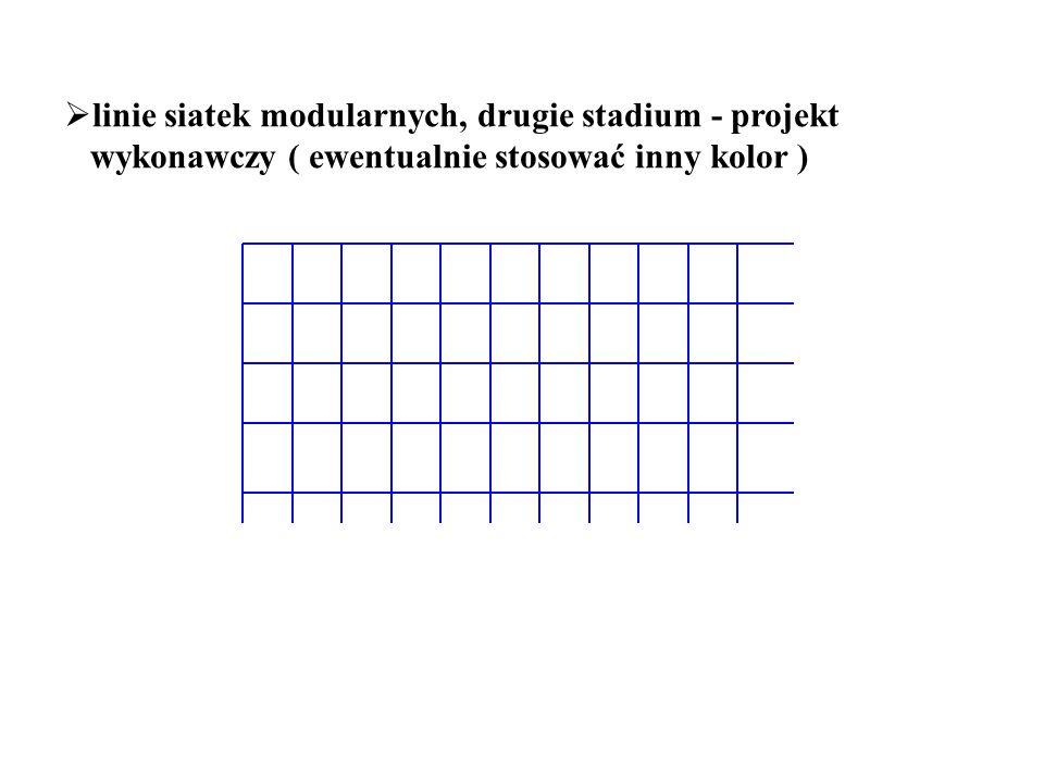 linie siatek modularnych, drugie stadium - projekt