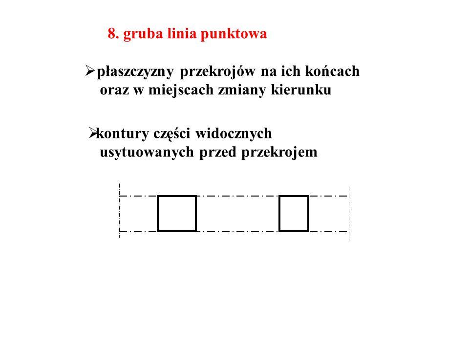 8. gruba linia punktowa płaszczyzny przekrojów na ich końcach. oraz w miejscach zmiany kierunku. kontury części widocznych.