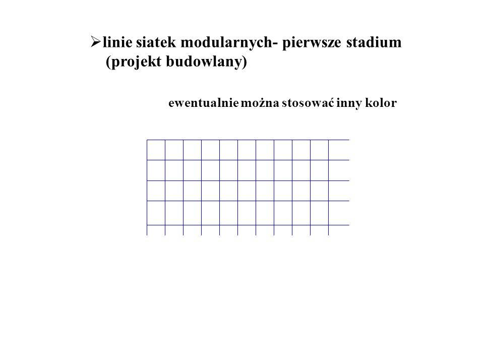 linie siatek modularnych- pierwsze stadium (projekt budowlany)