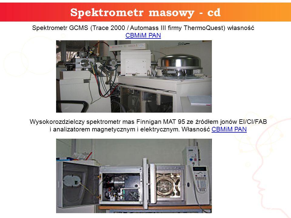 Spektrometr masowy - cd