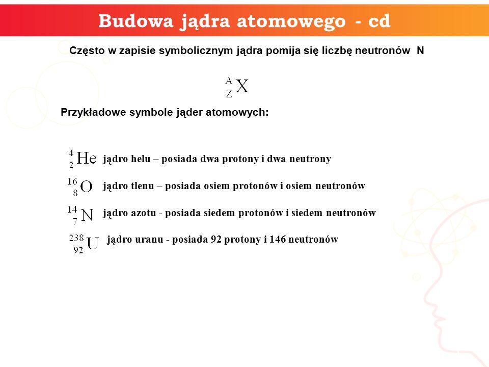 Budowa jądra atomowego - cd