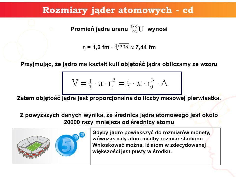 Rozmiary jąder atomowych - cd