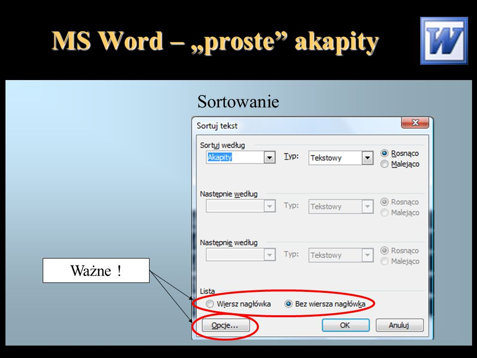 "MS Word – ""proste akapity"