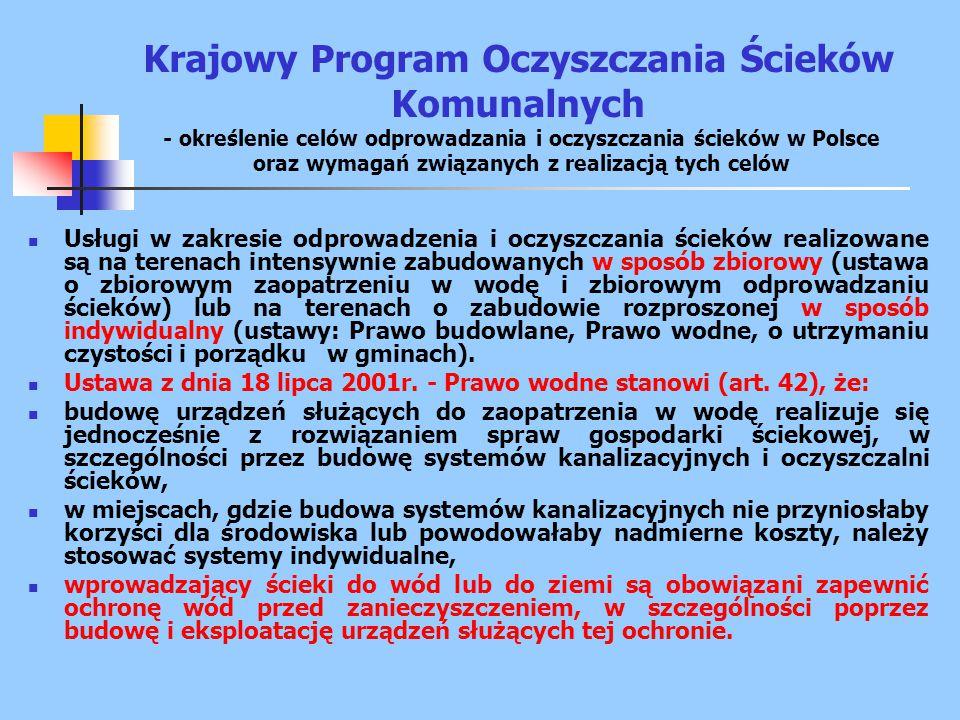 Krajowy Program Oczyszczania Ścieków Komunalnych - określenie celów odprowadzania i oczyszczania ścieków w Polsce oraz wymagań związanych z realizacją tych celów