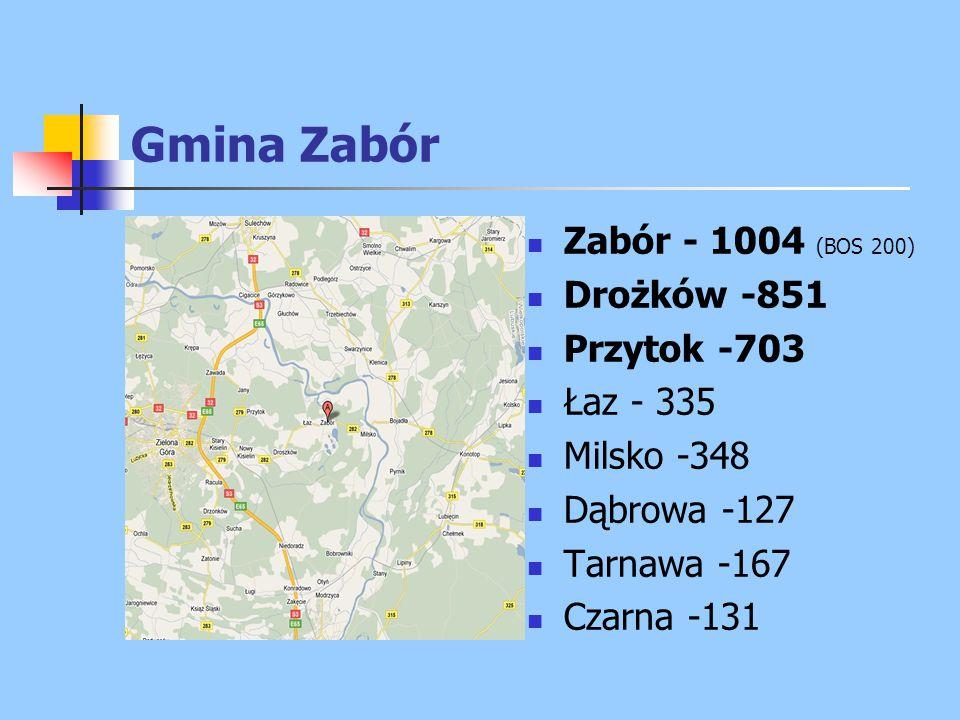 Gmina Zabór Zabór - 1004 (BOS 200) Drożków -851 Przytok -703 Łaz - 335