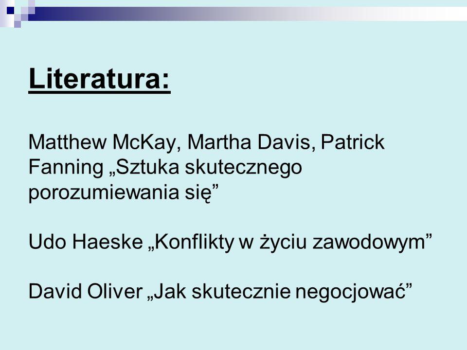 """Literatura: Matthew McKay, Martha Davis, Patrick Fanning """"Sztuka skutecznego porozumiewania się Udo Haeske """"Konflikty w życiu zawodowym David Oliver """"Jak skutecznie negocjować"""