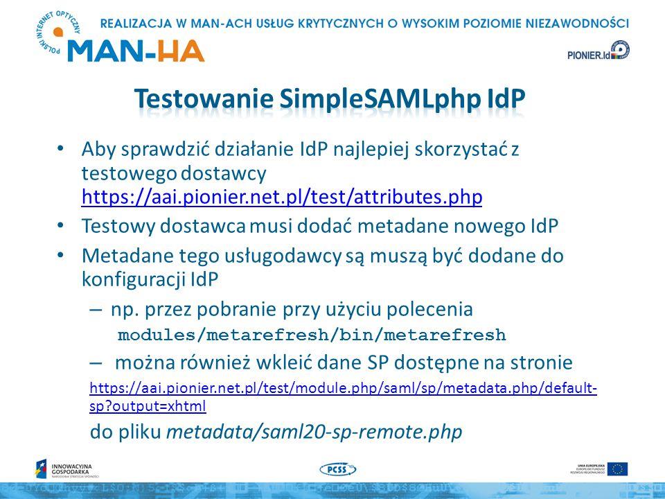Testowanie SimpleSAMLphp IdP