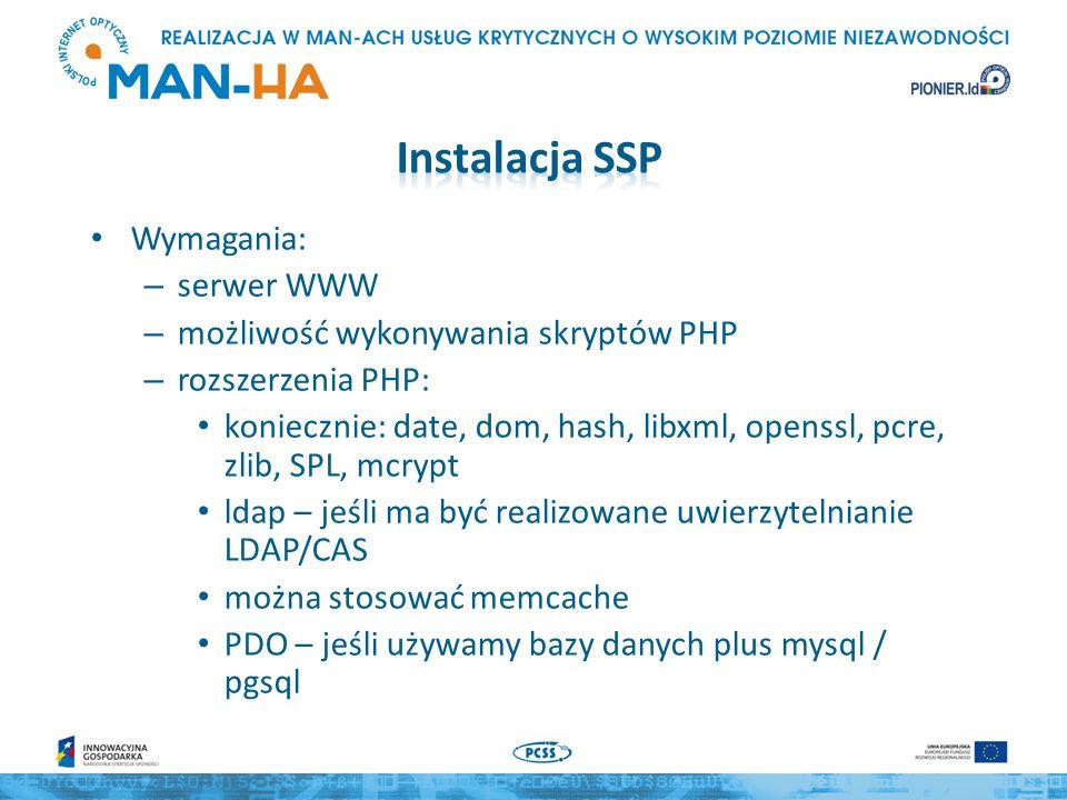 Instalacja SSP Wymagania: serwer WWW