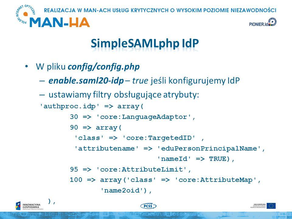 SimpleSAMLphp IdP W pliku config/config.php