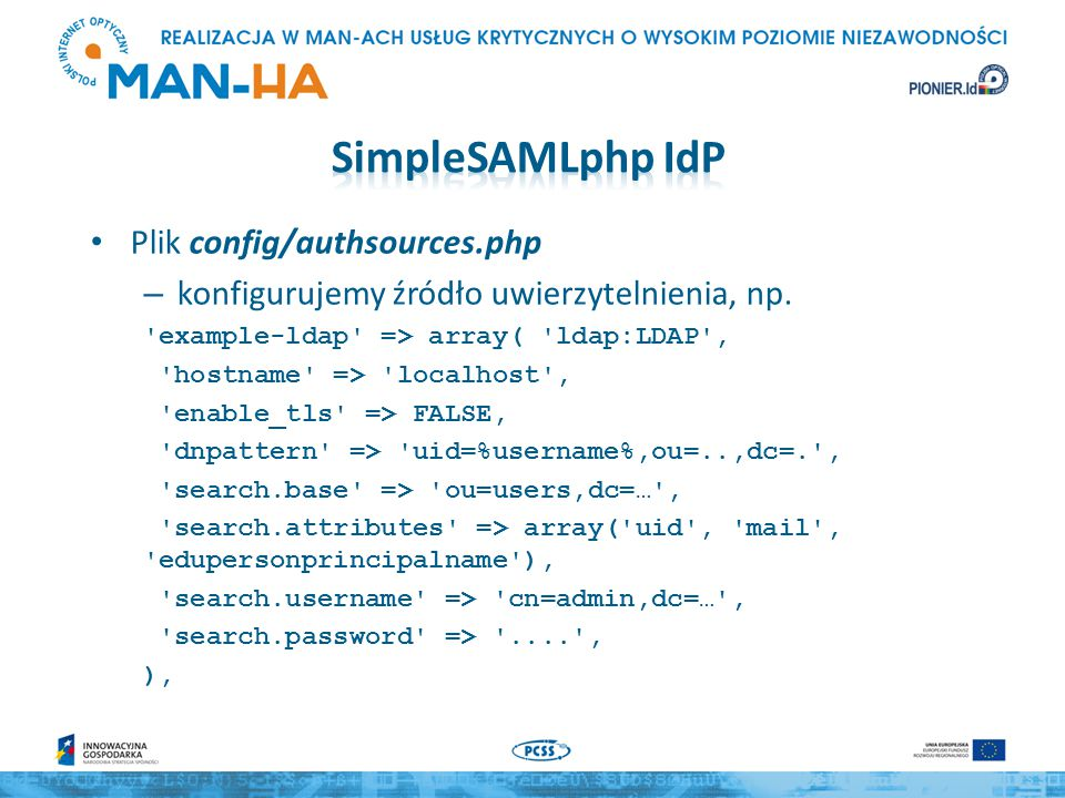 SimpleSAMLphp IdP Plik config/authsources.php