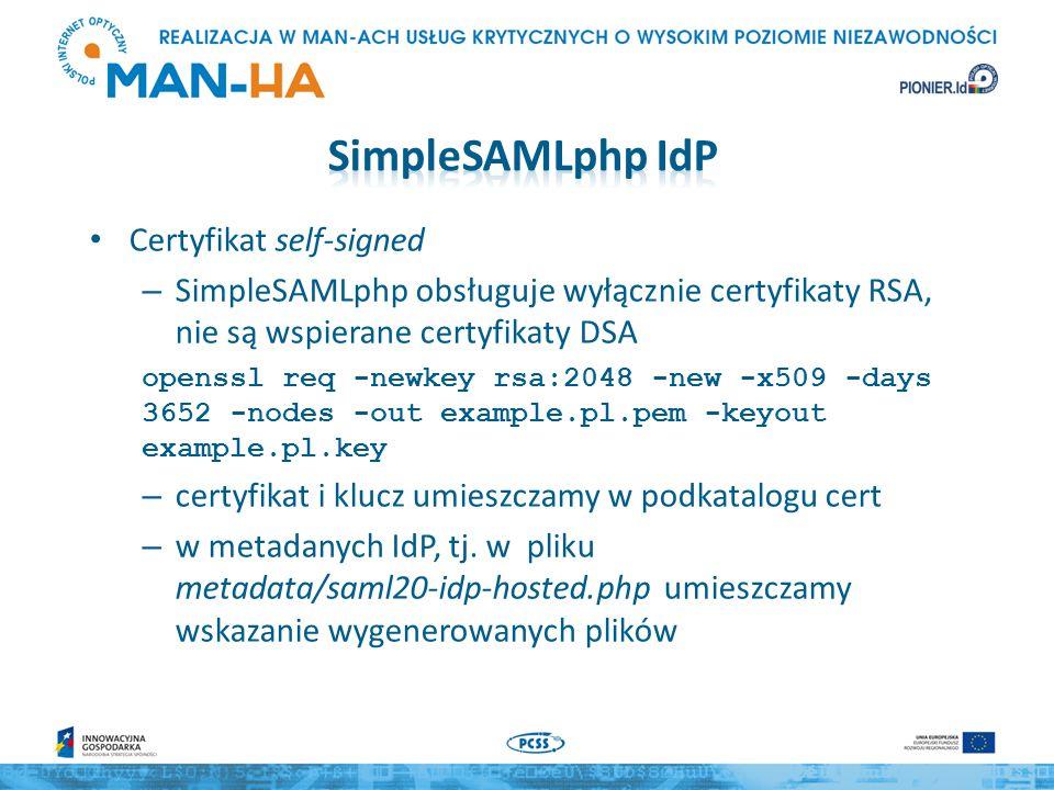 SimpleSAMLphp IdP Certyfikat self-signed