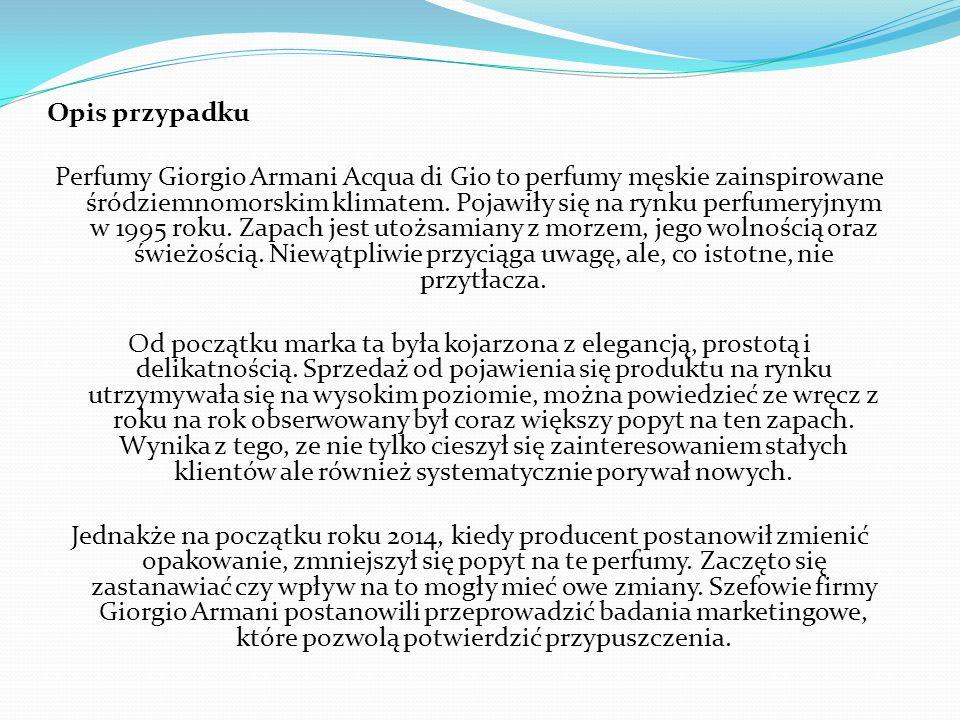 Opis przypadku Perfumy Giorgio Armani Acqua di Gio to perfumy męskie zainspirowane śródziemnomorskim klimatem.