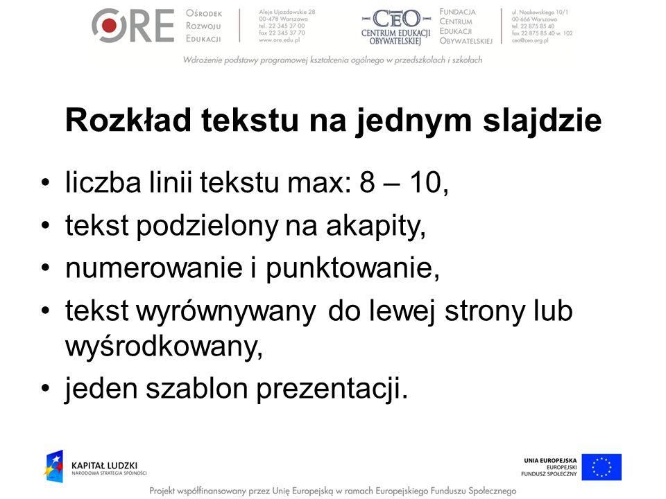 Rozkład tekstu na jednym slajdzie