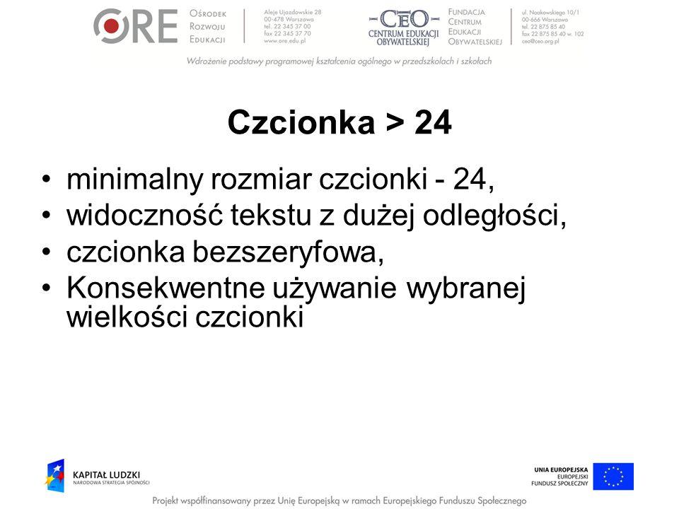 Czcionka > 24 minimalny rozmiar czcionki - 24,