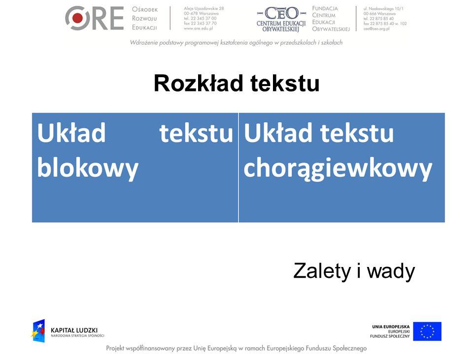 Rozkład tekstu Zalety i wady