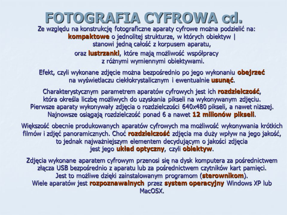 FOTOGRAFIA CYFROWA cd.