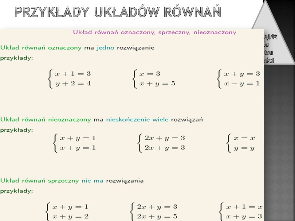 Przykłady układów równań