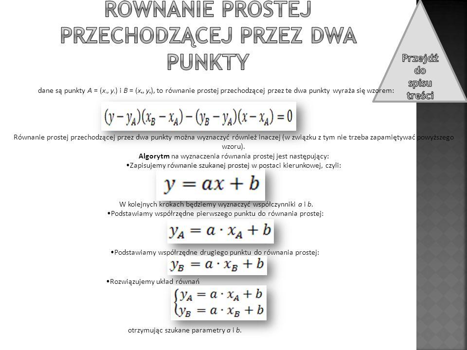 Równanie prostej przechodzącej przez dwa punkty