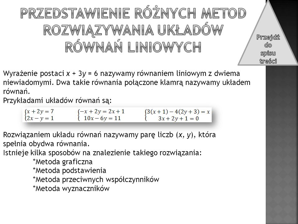 Przedstawienie różnych metod rozwiązywania układów równań liniowych