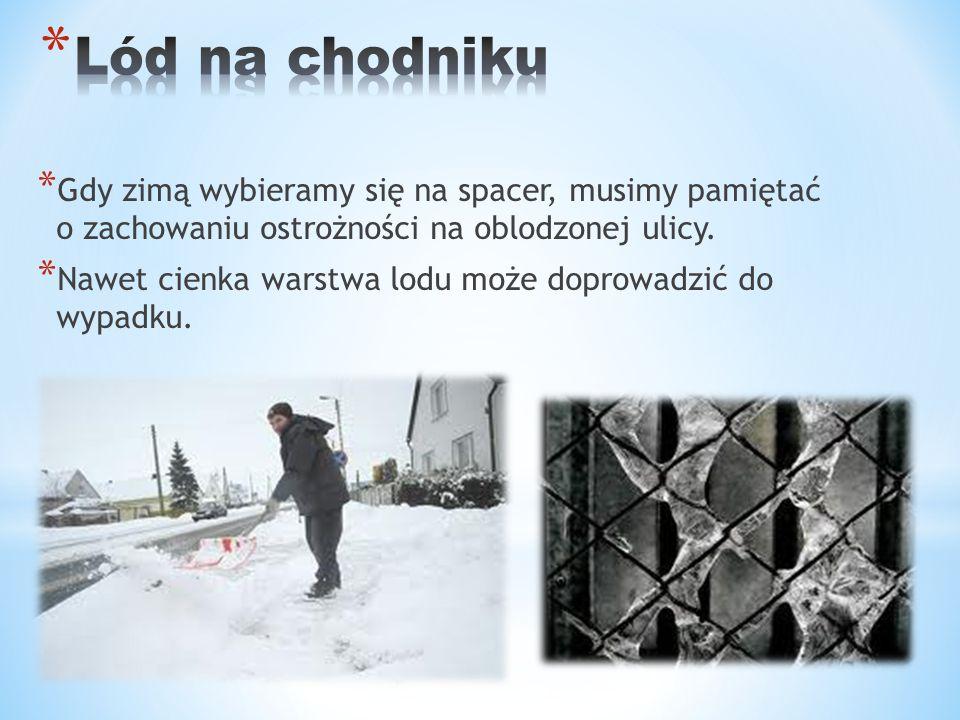 Lód na chodniku Gdy zimą wybieramy się na spacer, musimy pamiętać o zachowaniu ostrożności na oblodzonej ulicy.