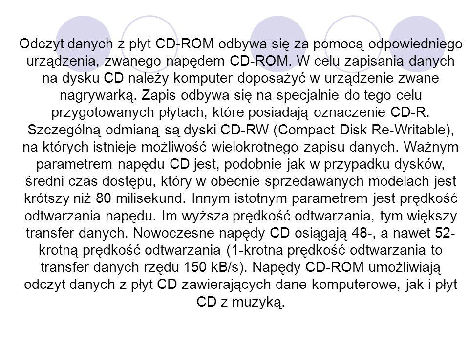 Odczyt danych z płyt CD-ROM odbywa się za pomocą odpowiedniego urządzenia, zwanego napędem CD-ROM.