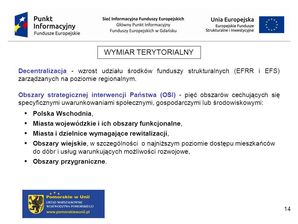WYMIAR TERYTORIALNY Decentralizacja - wzrost udziału środków funduszy strukturalnych (EFRR i EFS) zarządzanych na poziomie regionalnym.