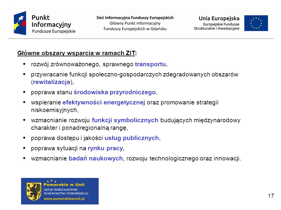 Główne obszary wsparcia w ramach ZIT: