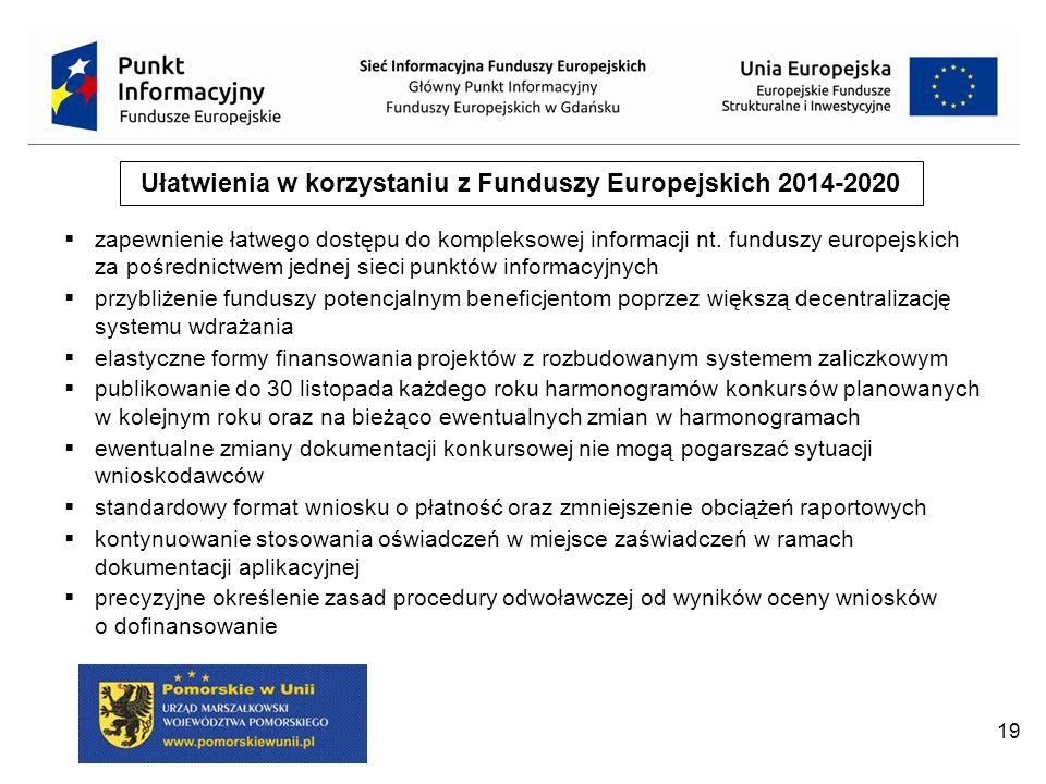 Ułatwienia w korzystaniu z Funduszy Europejskich 2014-2020