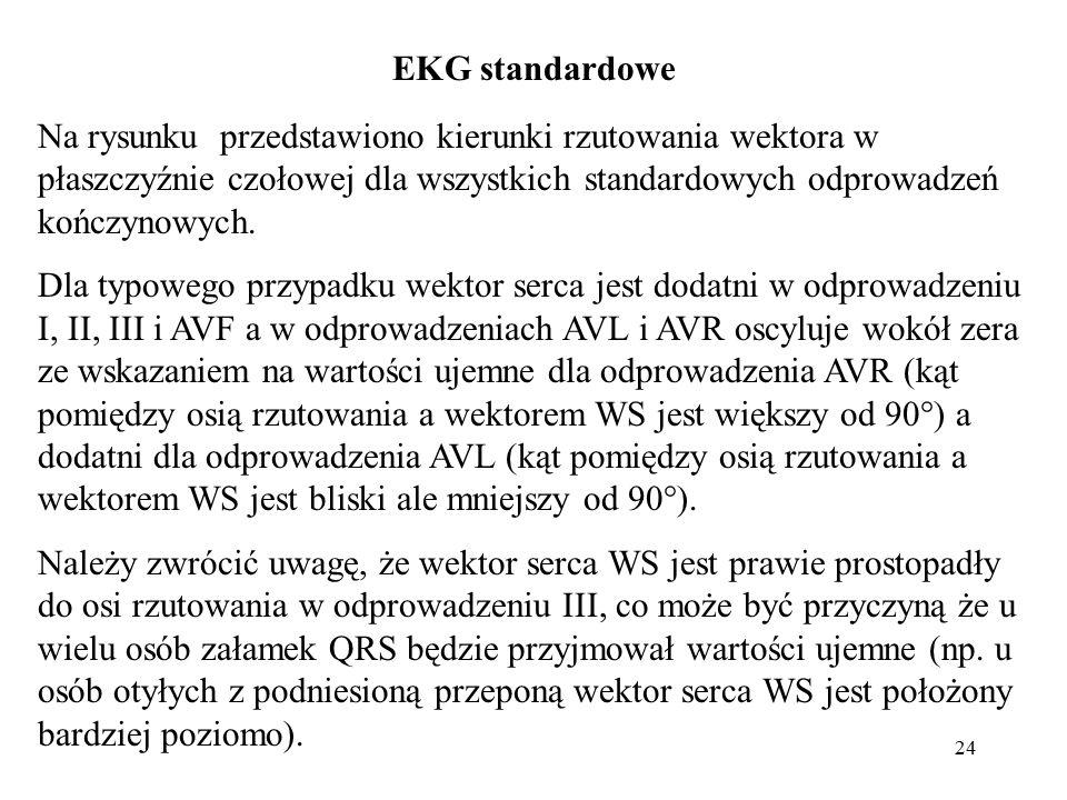 EKG standardowe Na rysunku przedstawiono kierunki rzutowania wektora w płaszczyźnie czołowej dla wszystkich standardowych odprowadzeń kończynowych.