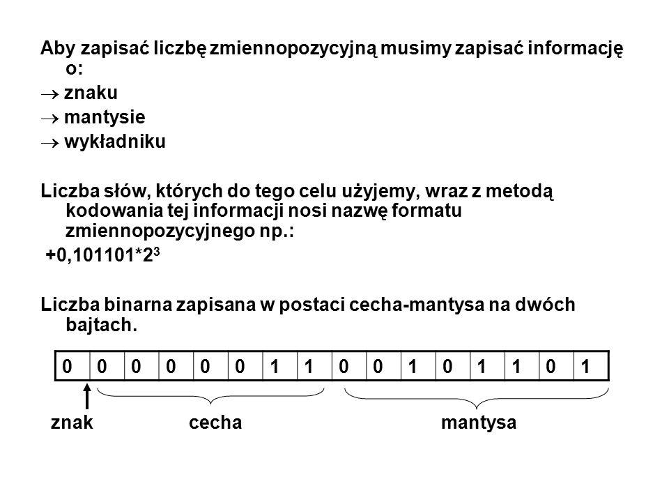 Aby zapisać liczbę zmiennopozycyjną musimy zapisać informację o: